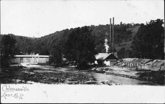 Postcard showing Colemanville in the early 1900s.