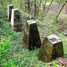 Support structures for old rock crushers used to make cement.