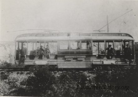 "Pennsylvania Traction Company car no. 2 photographed circa 1894 just east of Columbia at Stoner's Quarry. The destination sign reads, ""Lancaster and Columbia"" and ""Chickies Park - Marietta."""