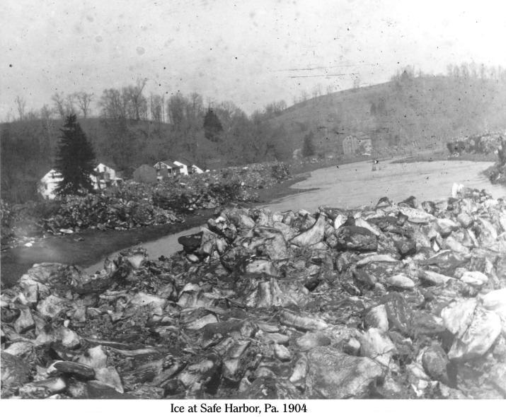 Ice at Safe Harbor 1, 1904, showing the ice left by receeding water on the Conestoga River.