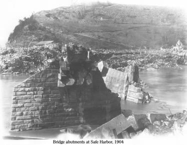Ice at Safe Harbor 1, 1904, showing the ice left by receeding flood water from the Susquehanna River on the Conestoga River. One of several bridges destroyed by the ice.