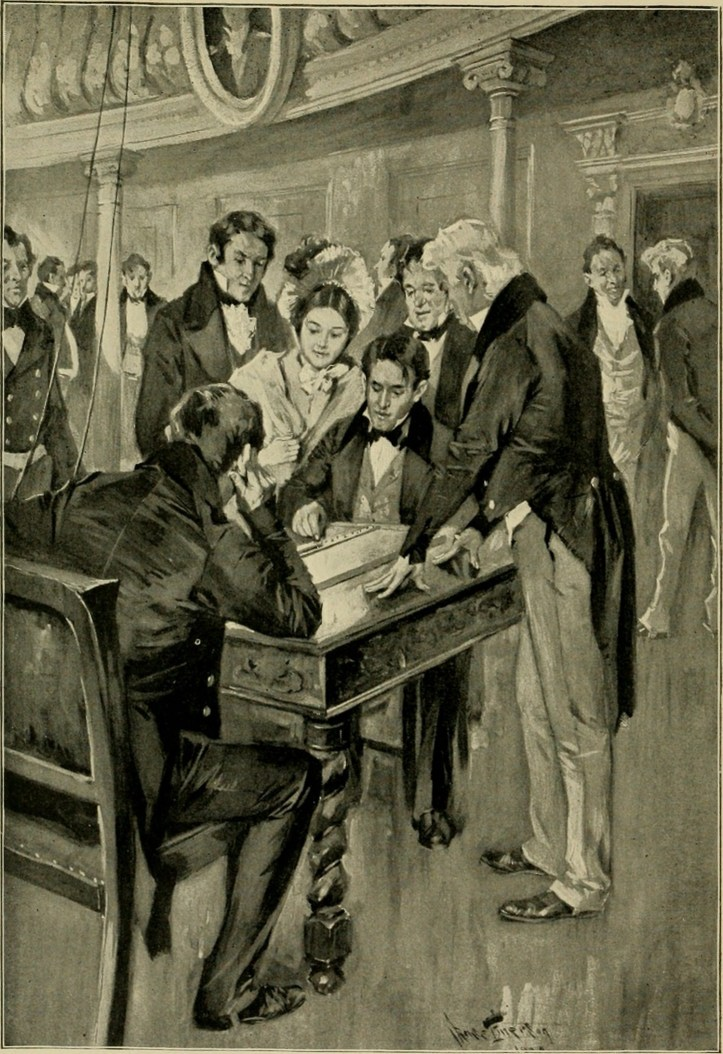 The first telegram. Professor Samuel Morse sending the dispatch as dictated by Miss Annie Ellsworth