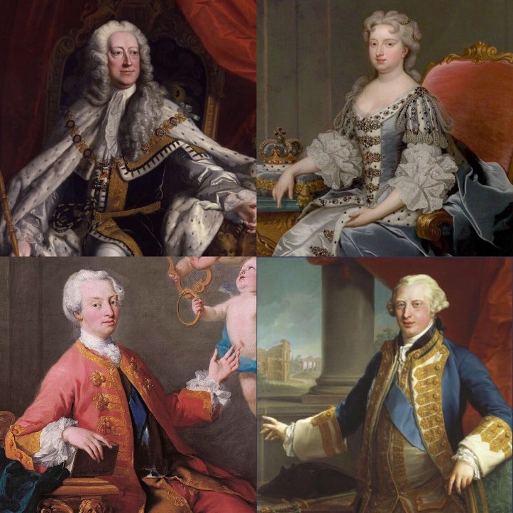 King George, Queen Caroline, the Prince of Wales, and the Duke of York.
