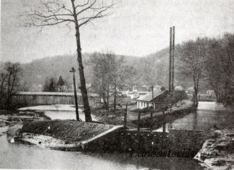 Colemanville Power Plant in 1906. The covered bridge is visible on the left.