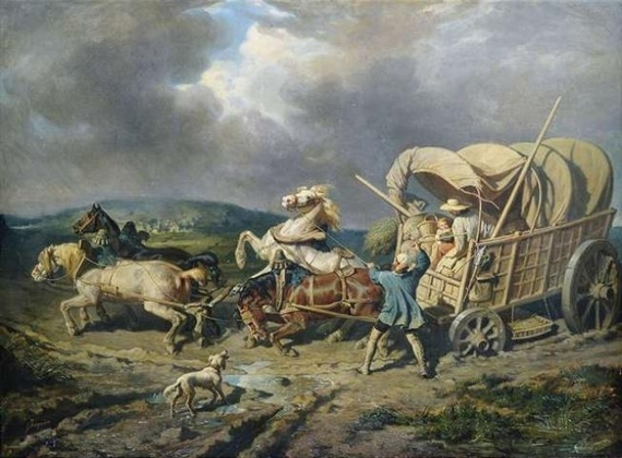 A covered wagon getting stuck in the mud. Painted by Alexandre Josquin.
