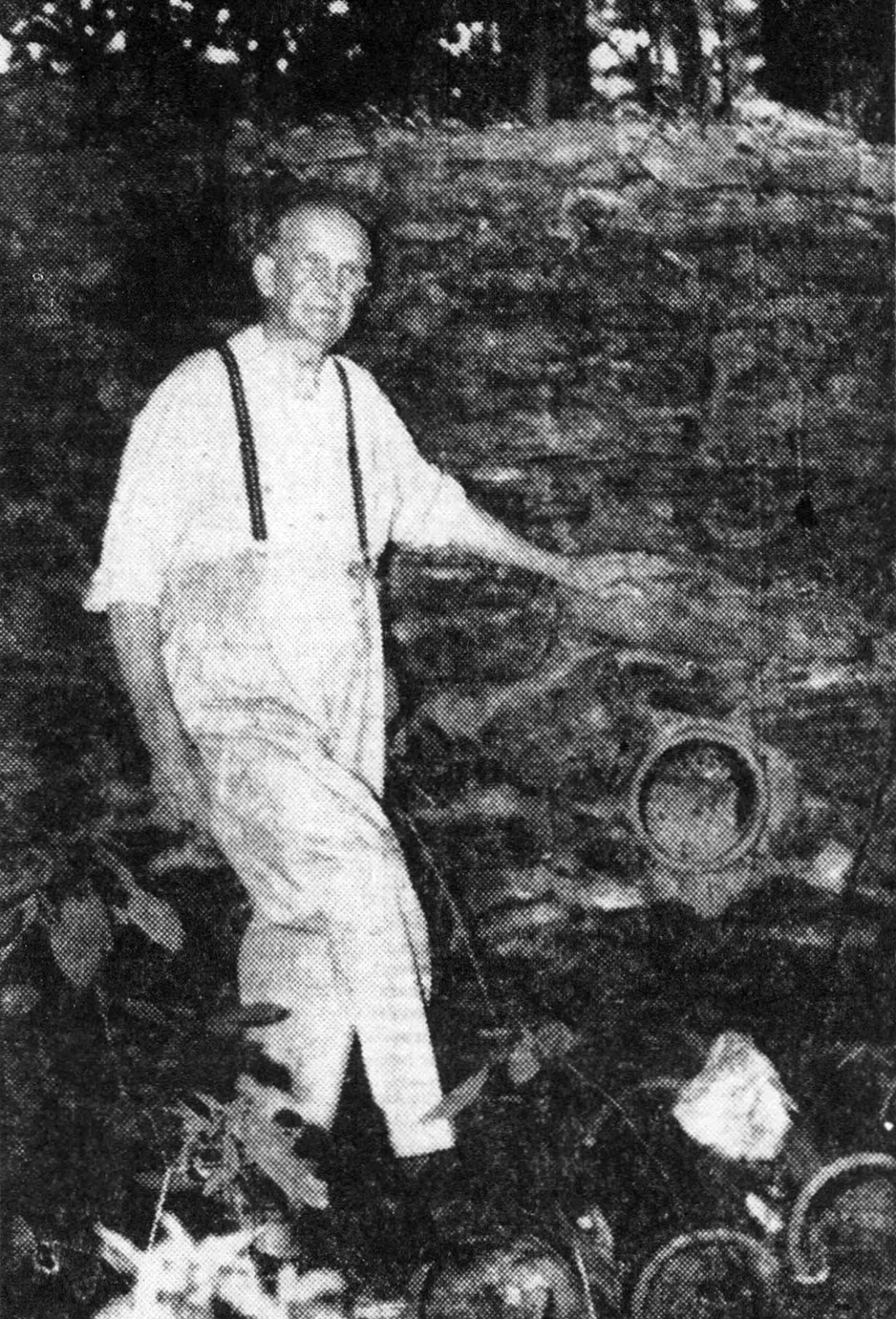 Nearly forty years after construction stopped, Hartman stands next to the foundations of the Pequehanna Inn in 1949.