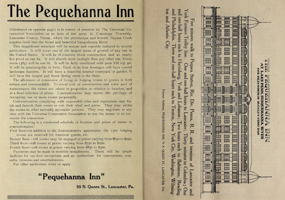 The two-page prospectus for The Pequehanna Inn from the Seeing Lancaster County from a Trolley Window tourist book.