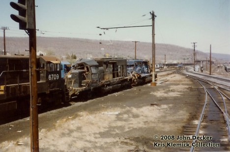 Wrecked Conrail CR 6253 and CR 6267 at Enola, PA in April 1982. Photo by John Decker.