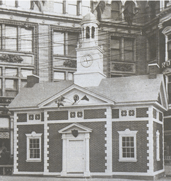 The Bond House in the southeast corner of Penn Square in front of the Watt & Shand building.