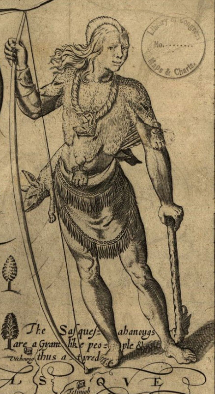"Depiction of a Susquehannock man on the Smith Map (1624). The handwritten caption reads (in modern English): ""The Susquehannocks are a giant-like people and thus attired."""