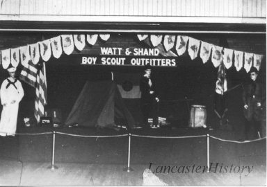 Display window at Watt & Shand for outfitting the Boy Scouts.
