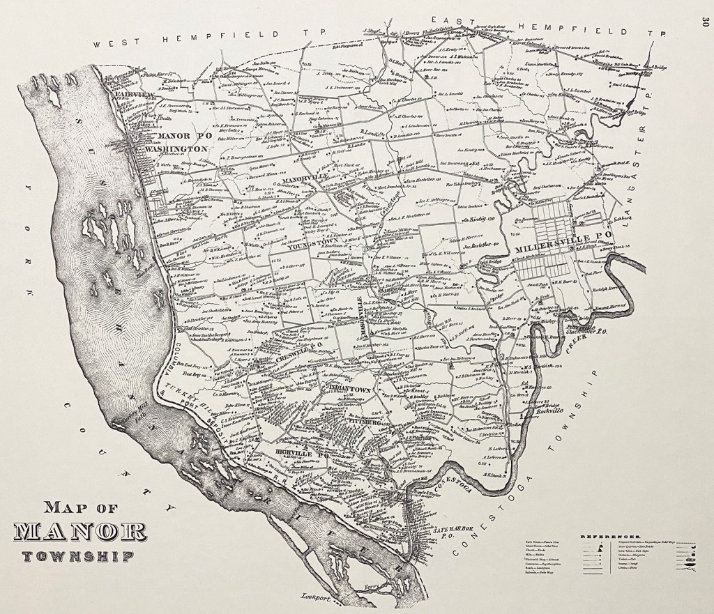 Original 1875 Lancaster County atlas Millersville Manor Township map Safe Harbor