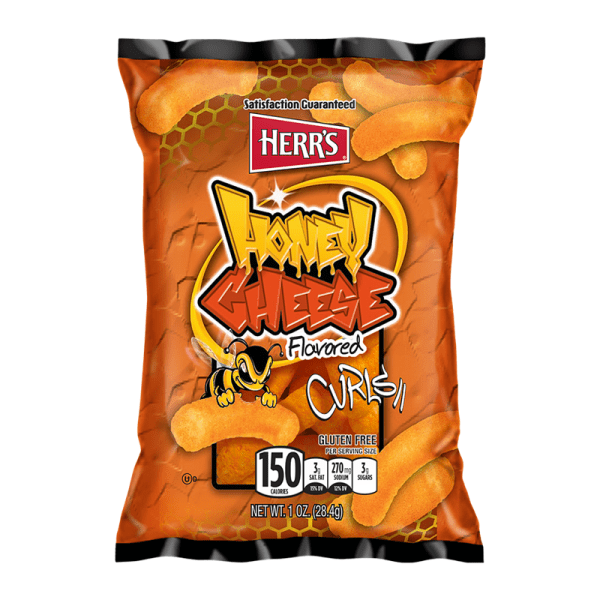 A small bag of Herr's Honey Cheese Curls