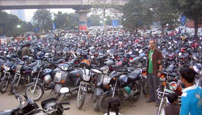 motorcycles at the trade fair