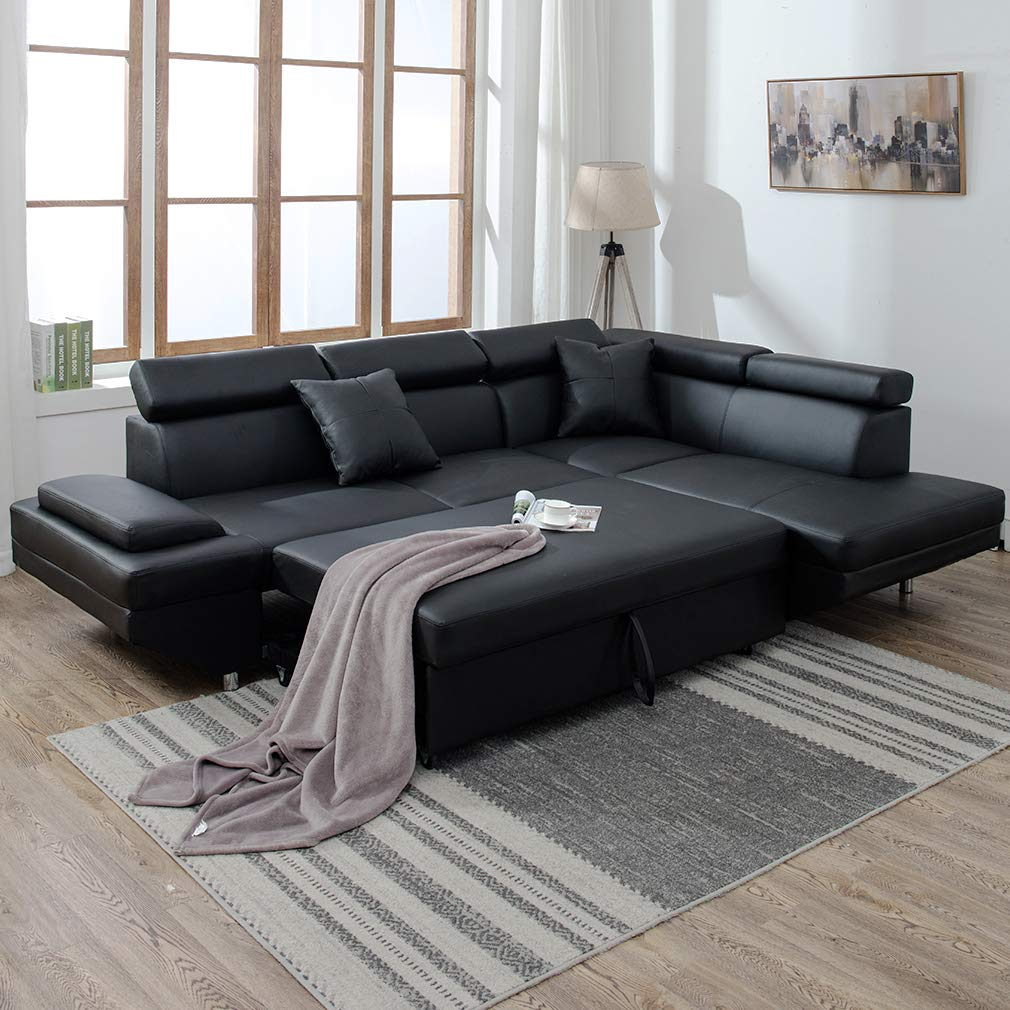 NEW MODERN CONTEMPORARY LEATHER SECTIONAL CORNER SOFA BED U95R U95L Uncle Wieners Wholesale