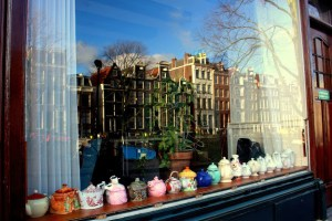 The Weichman Hotel in the Jordaan sports a collection of teapots.