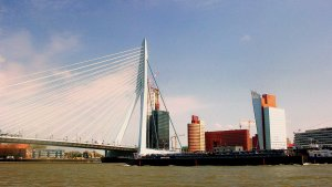 The magnificent Erasmus Bridge in modern Rotterdam