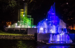 A Tale of Two Cities by Vendel & De Wolf, in which illuminated plexiglass cities merge and collide at the Amsterdam Light Festival 2015-16.