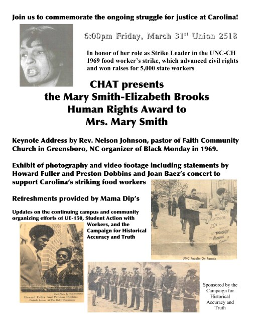 CHAT presents the Mary Smith-Elizabeth Brook Human Rights Award Flyer in theJohn Kenyon Chapman Papers #5441, Southern Historical Collection, Wilson Library, The University of North Carolina at Chapel Hill.