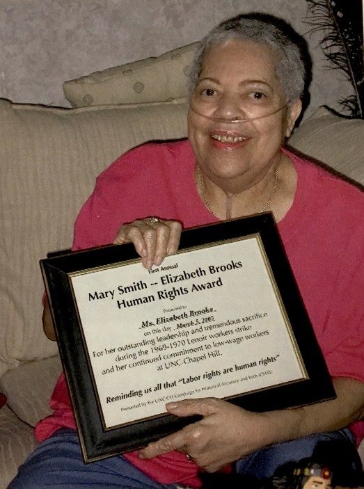 Elizabeth Brooks Accepting the Mary Smith-Elizabeth Brook Human Rights Award Photograph in the John Kenyon Chapman Papers #5441, Southern Historical Collection, Wilson Library,The University of North Carolina at Chapel Hill.