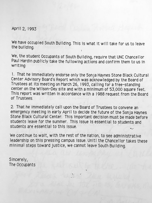 Letter from the Occupants of South Building to Chancellor Hardin in the Sonja Haynes Stone Center for Black Culture and History Records #40341, University Archives, The Wilson Library, University of North Carolina at Chapel Hill.