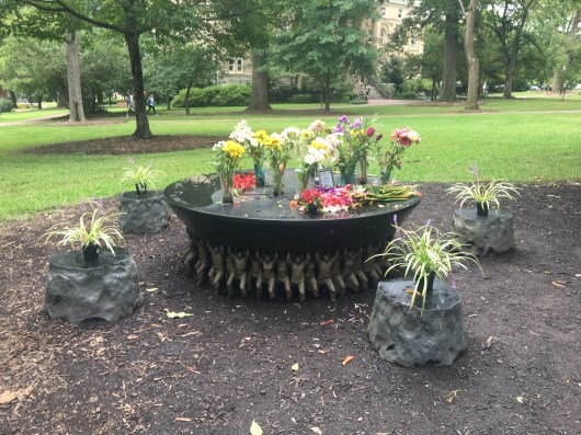 Unsung Founders Memorial, Decorated with Flowers. Personal Photograph. Charlotte Fryar. 1 September 2017.