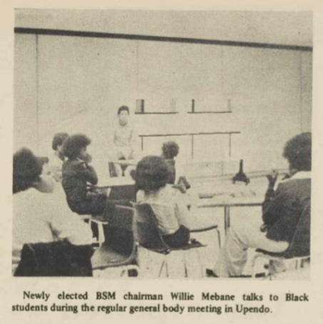 Meeting of the Black Student Movement in Upendo Lounge, 1 April 1973, Black Ink, Page 3.