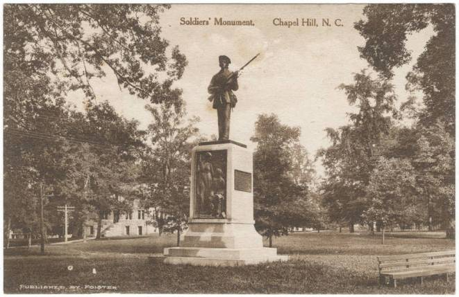 Soldiers' Monument, c. 1920s in the Durwood Barbour Collection of North Carolina Postcards #P077, North Carolina Collection, Photographic Archives, Wilson Library, The University of North Carolina at Chapel Hill.