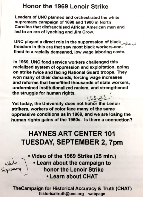Flyer for the Campaign for Historical Accuracy & Truth, 2 September 2005 in the John Kenyon Chapman Papers #5441, Southern Historical Collection, Wilson Library, The University of North Carolina at Chapel Hill.