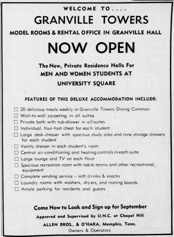 Granville Towers Advertisement, The Daily Tar Heel, 22 March 1966, Page 3.