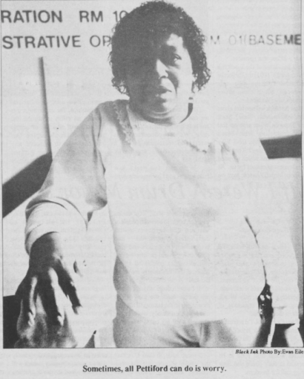 Annie Pettiford, one of the founders of the Housekeepers Association, Photo by Evan Eile in Black Ink, 21 January 1992, Page 7.