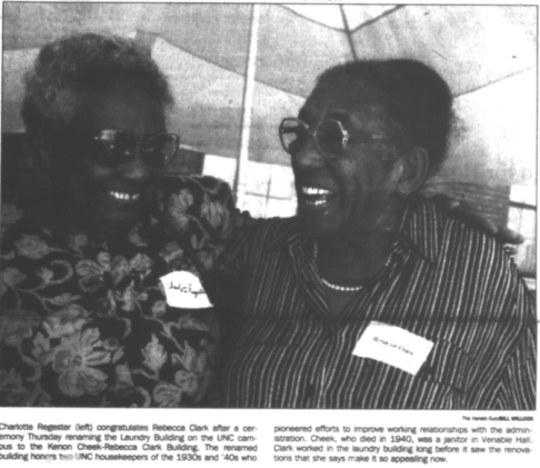 Charlotte Regester (left) and Rebecca Clark at the Dedication of the Cheek-Clark Building. Photo by Will Wilcox in the Chapel Hill News, 18 September 1998, Page 1.
