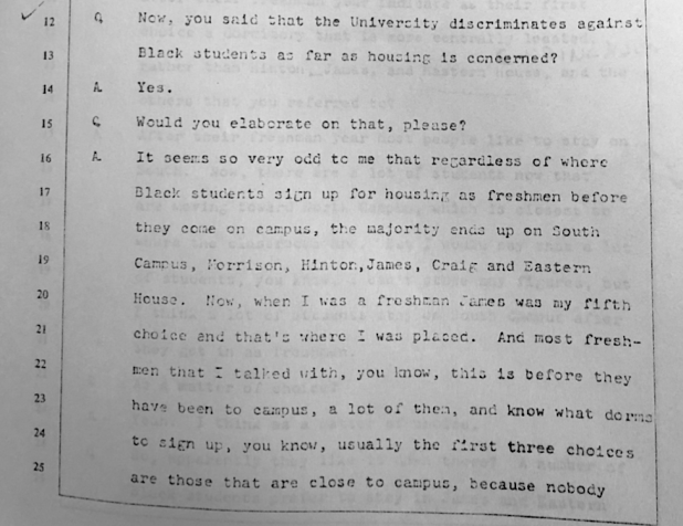 Deposition of Rosalind R. Fuse for HEW-OCR Investigation, 1979 in the Department of University Housing of the University of North Carolina at Chapel Hill Records #40129, University Archives, Wilson Library, The University of North Carolina at Chapel Hill.