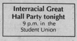 Interracial Great Hall Party, The Daily Tar Heel, 14 April 1989, Page 1.