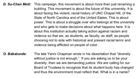 Selection of Comments from members of the Real Silent Sam Coalition at Board of Trustees Meeting, Meeting Attachments, Board of Trustees Archive, 26 March 2015.
