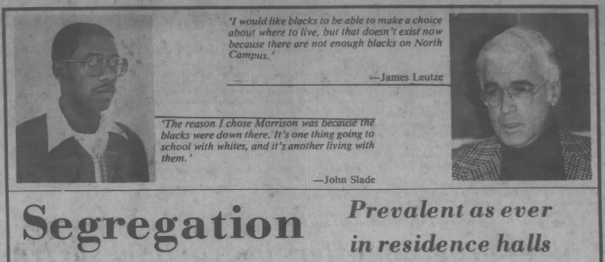 """Jessiman, Thomas, """"Segregation, prevalent as ever in residence halls,"""" The Daily Tar Heel, 6 November 1980, Page 8."""