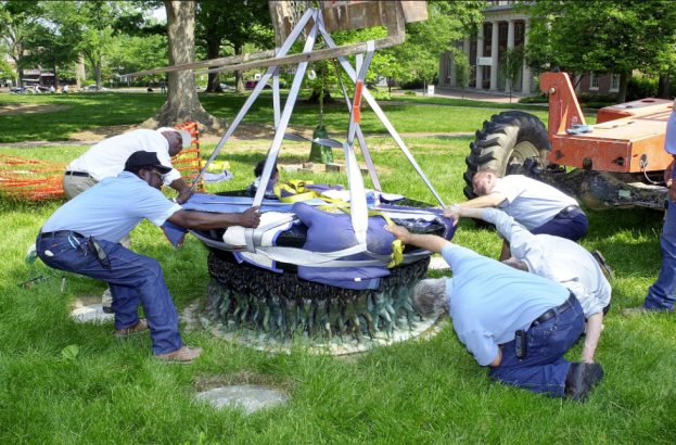 Installation of the Unsung Founders Memorial, 11 May 2005 in the News Services of the University of North Carolina at Chapel Hill Records #40139, University Archives, Wilson Library, The University of North Carolina at Chapel Hill