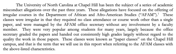 """Selection from the """"Investigation of Irregular Classes in the Department of African and Afro-American Studies at the University of North Carolina at Chapel Hill"""" October 2014."""