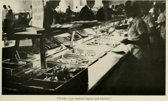 Foodworkers on the food lines in Lenoir Hall, Yackety Yack Yearbook, 1962, 306.