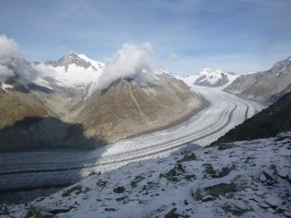 Le Grand Glacier d'Aletsch, plus grand glacier d'Europe, vu d'Eggishorn, Suisse, 2014