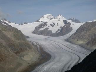 Konkordiaplatz, jonction de trois glaciers et origine du glacier d'Aletsch, 2014