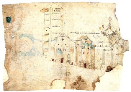 Drawing of Pavia Cathedral, Vatican, Pal. Lat. 1993. Public domain via Wikimedia Commons.