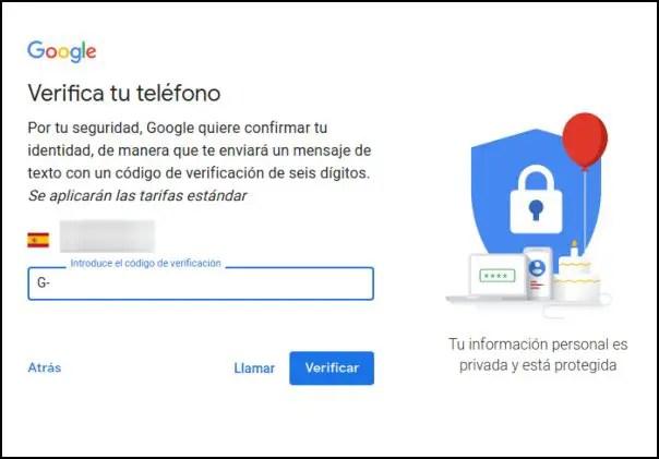 verificar número de teléfono de Google