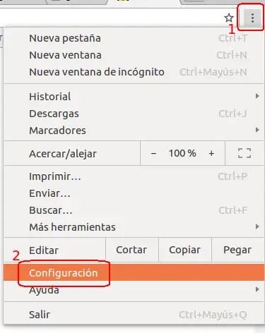 acceder a la configuración de Chrome