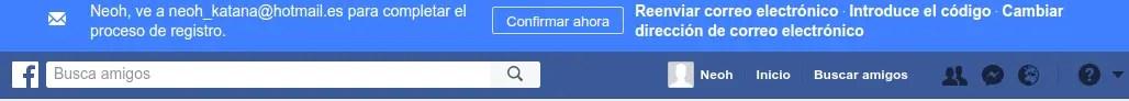 confirmar correo facebook
