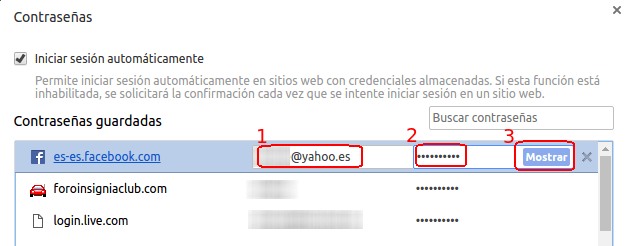 contraseña de facebook en Chrome