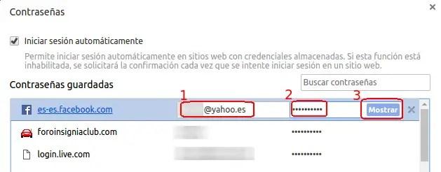 contraseña de facebook en Chrome