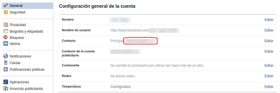 correo electrónico en Facebook