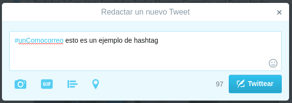ejemplo de hashtag en Twitter