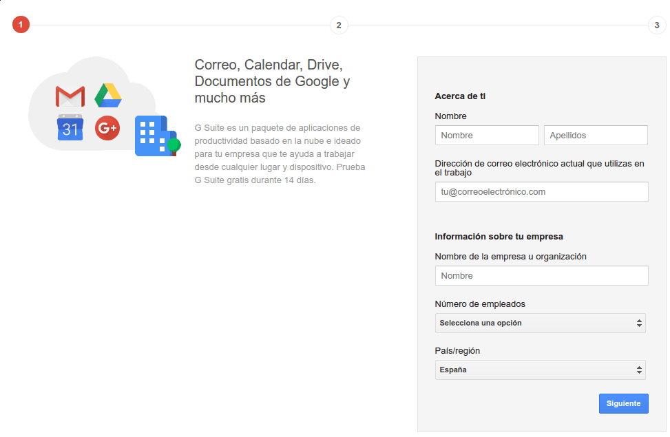 registro en Google G Suite